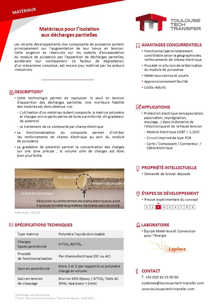 Mat riaux pour l isolation aux d charges partielles for Portent of degradation